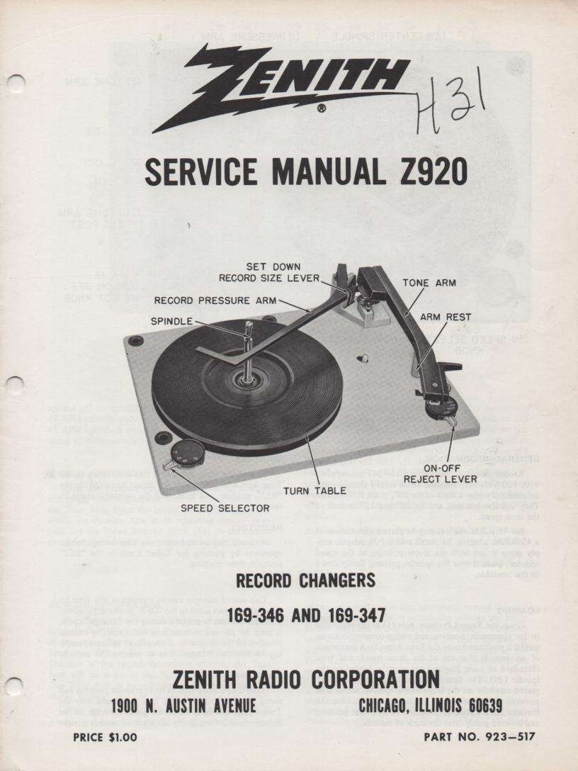 169-346 169-347 Record Changer Service Manual Z920