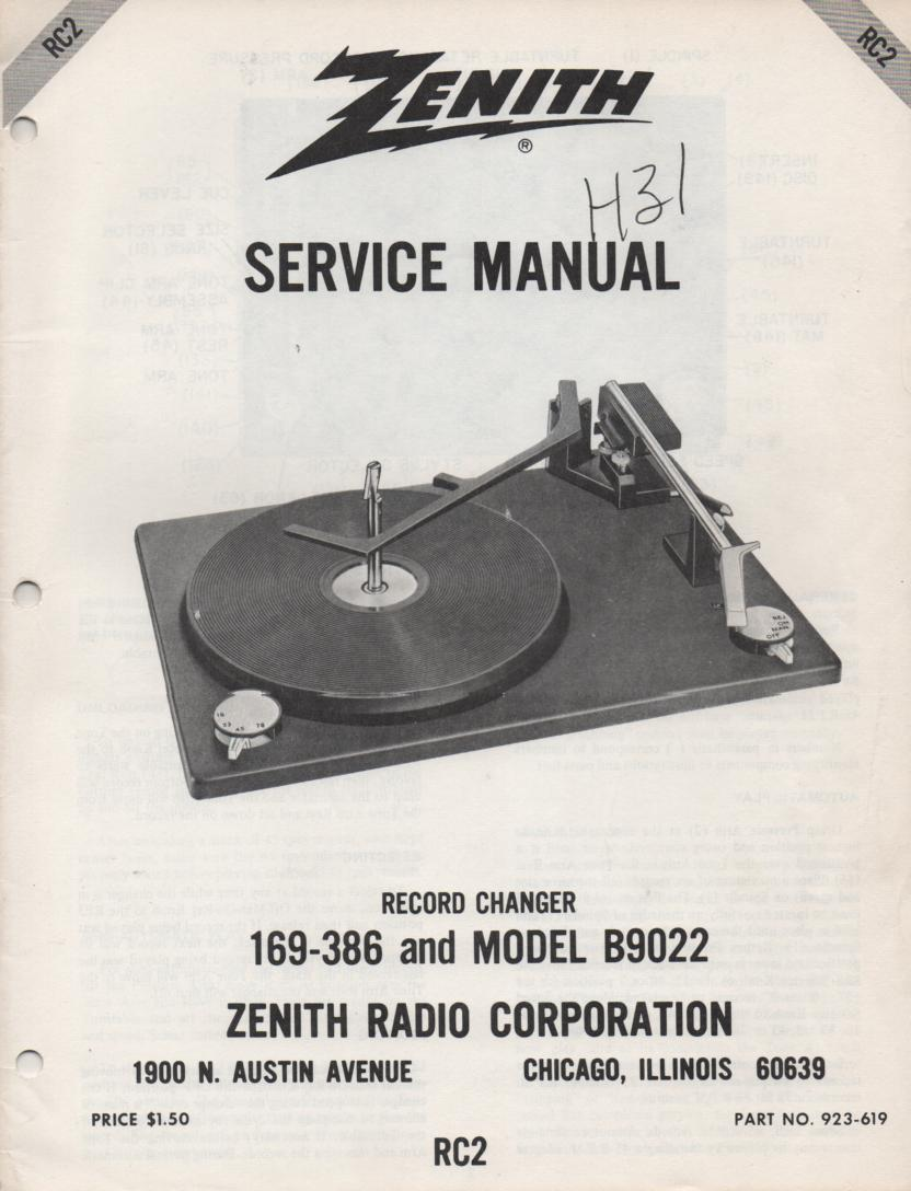 169-386 B9022 Turntable Service Manual RC-2