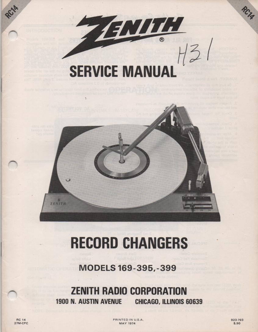 169-395 169-399 Turntable Service Manual. RC-14