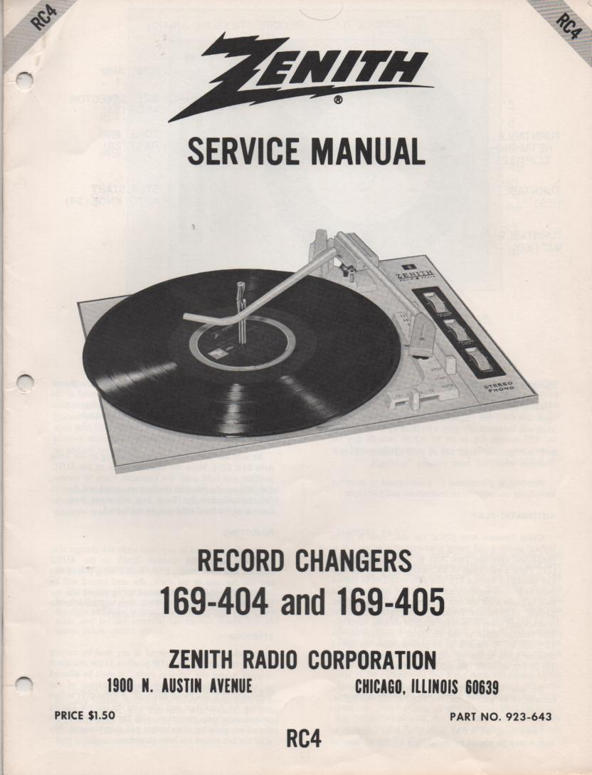 169-404 169-405 Turntable Service Manual. RC4