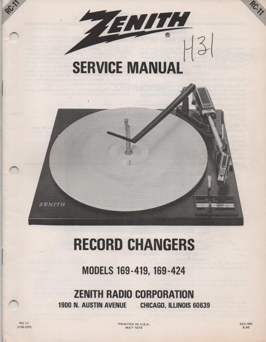 169-419 169-424 Turntable Service Manual. RC-11