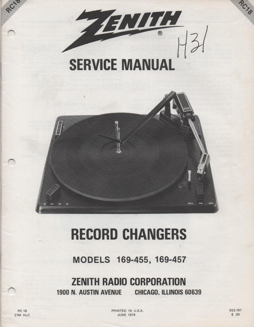 169-455 Turntable Service Manual. RC18