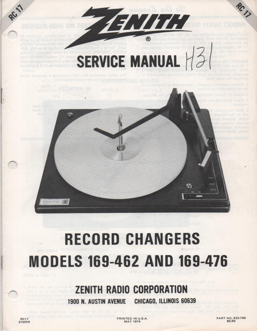 169-462 Turntable Service Manual. RC17