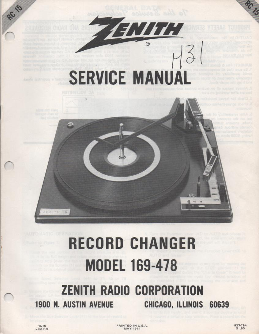 169-478 Turntable Service Manual. RC15