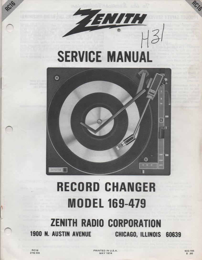 169-479 Turntable Service Manual. RC16