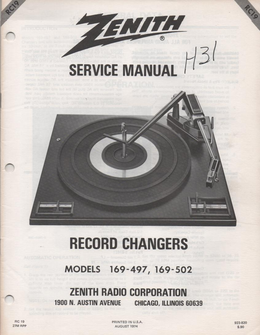 169-497 Turntable Service Manual. RC19