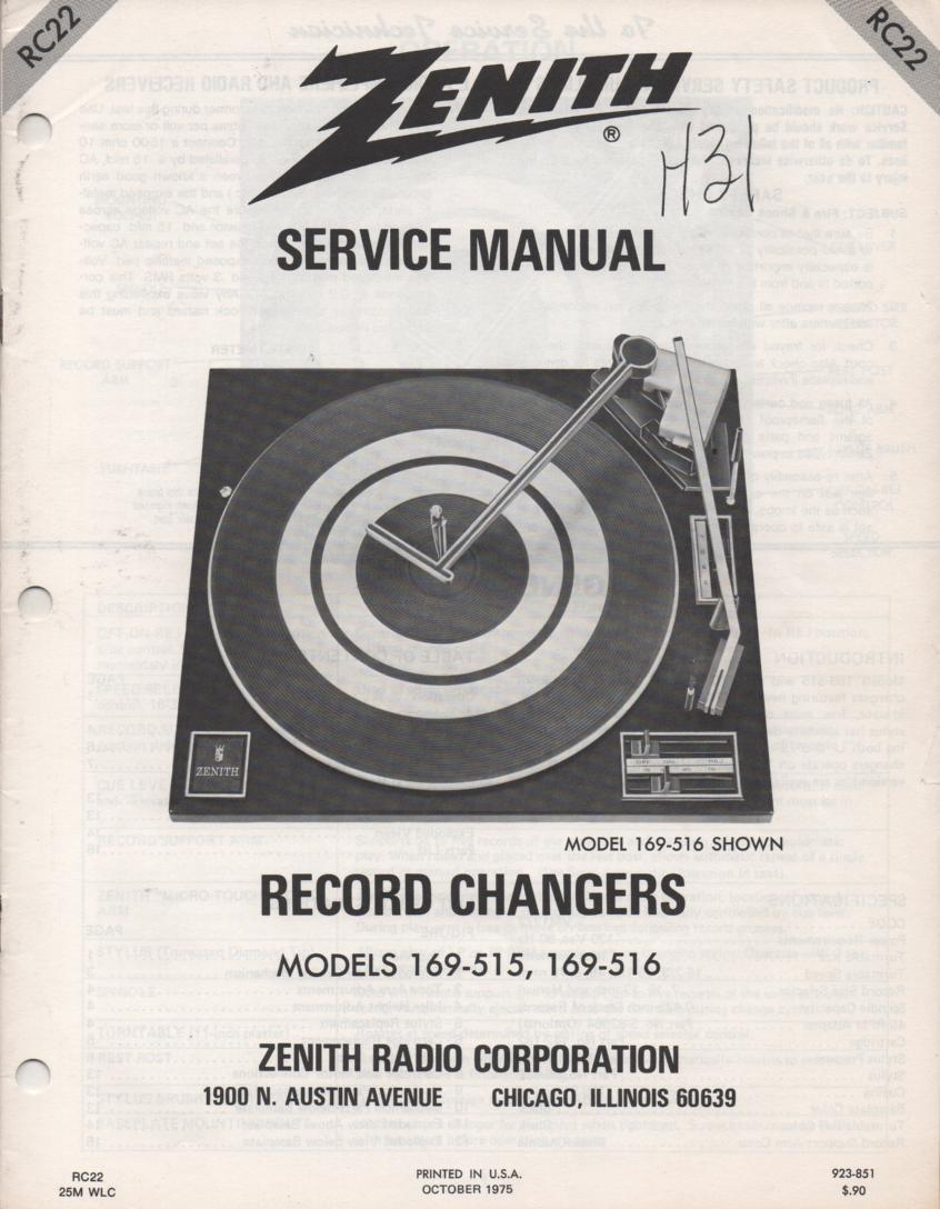 169-516 Turntable Service Manual. RC22