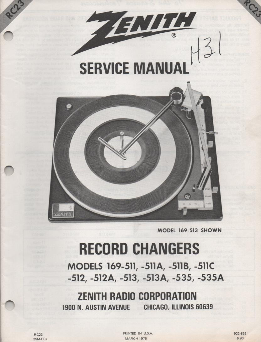 169-535 Turntable Service Manual. RC23