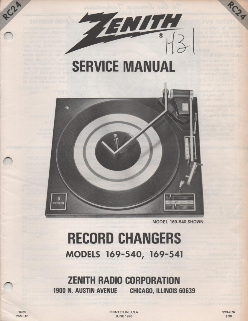 169-541 Turntable Service Manual. RC24