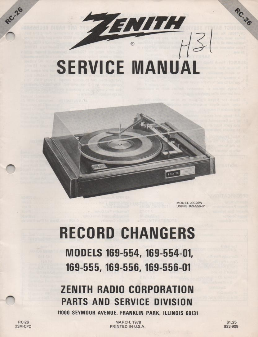 169-554 Turntable Service Manual. RC26