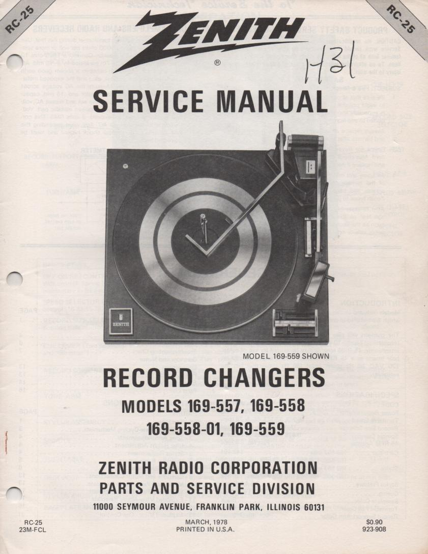 169-557 Turntable Service Manual. RC25