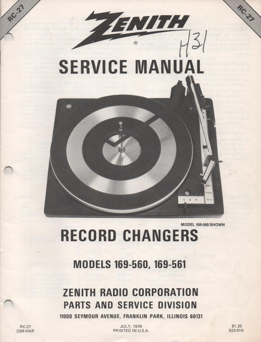 169-560 Turntable Service Manual. RC27