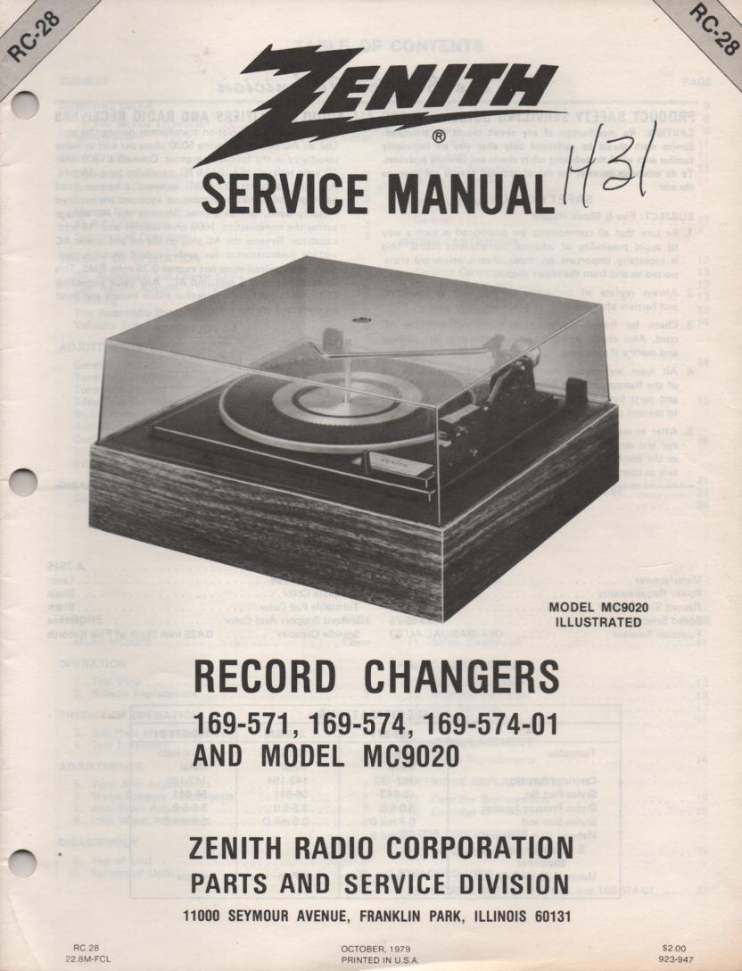 169-574 169-574-01 MC9020 Turntable Service Manual. RC28