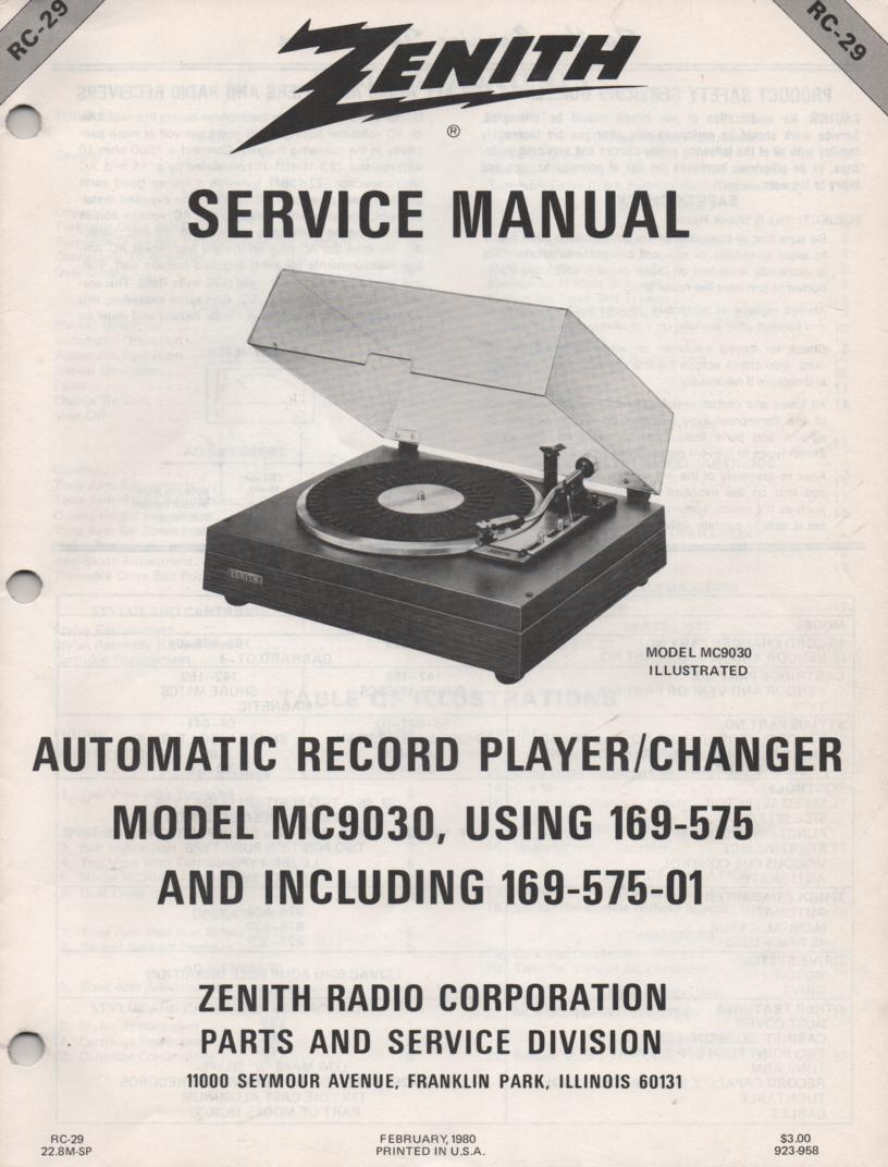 169-575 Turntable Service Manual. RC29