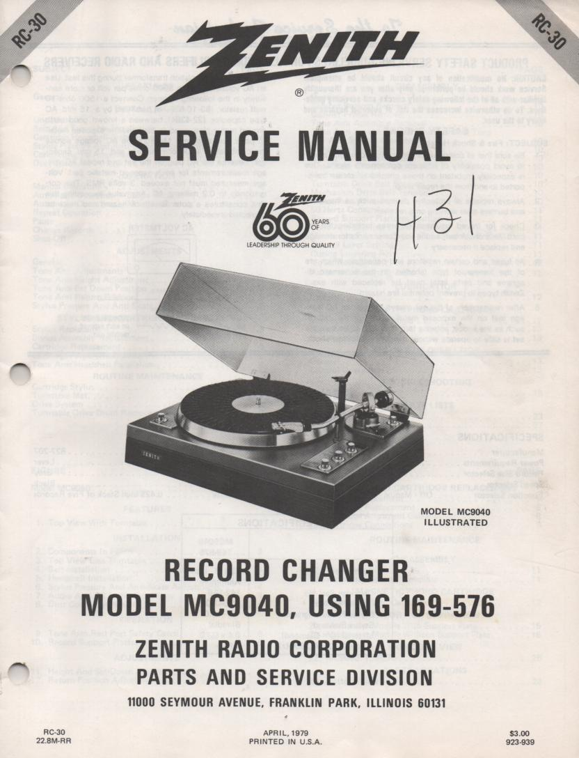 169-576 MC9040 Turntable Service Manual. RC30