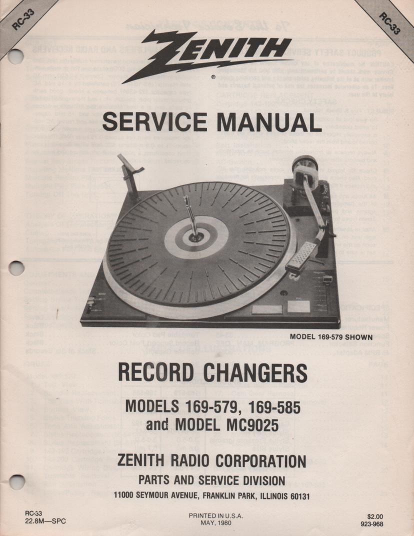 169-585 169-579 MC9025 Turntable Service Manual RC-33 May 1980