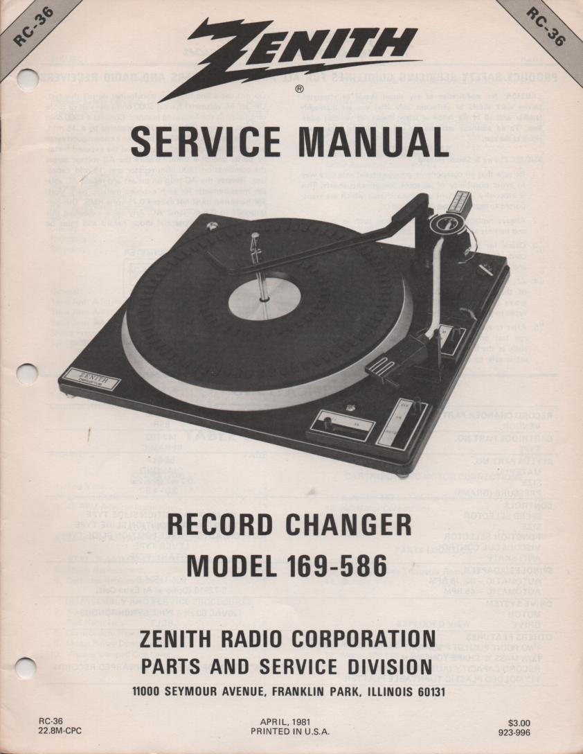 169-586 Turntable Service Manual RC-36 April 1981
