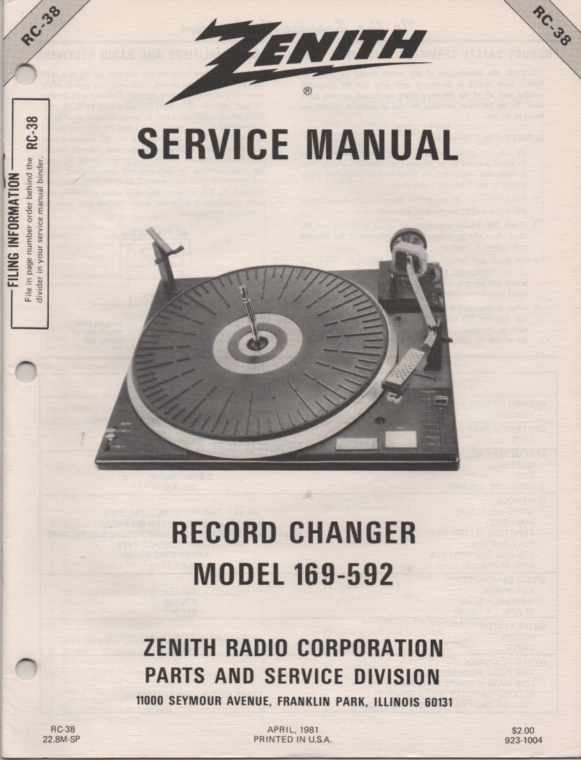 169-592 Turntable Service Manual RC-38 April 1981
