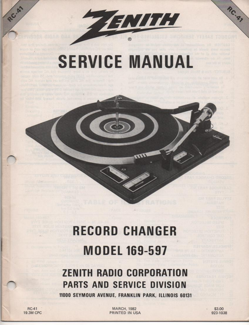 169-597 Turntable Service Manual. RC41