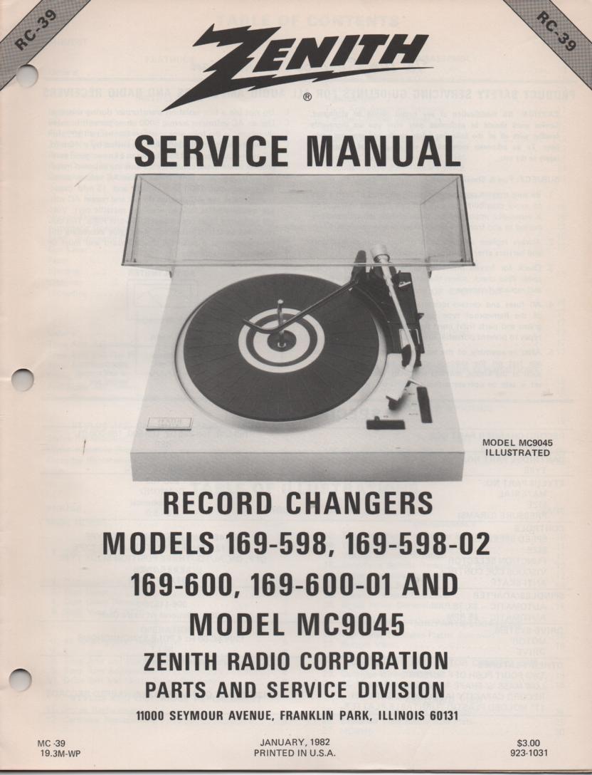 169-600 169-600-01 MC9045 Turntable Service Manual RC-39 January 1982