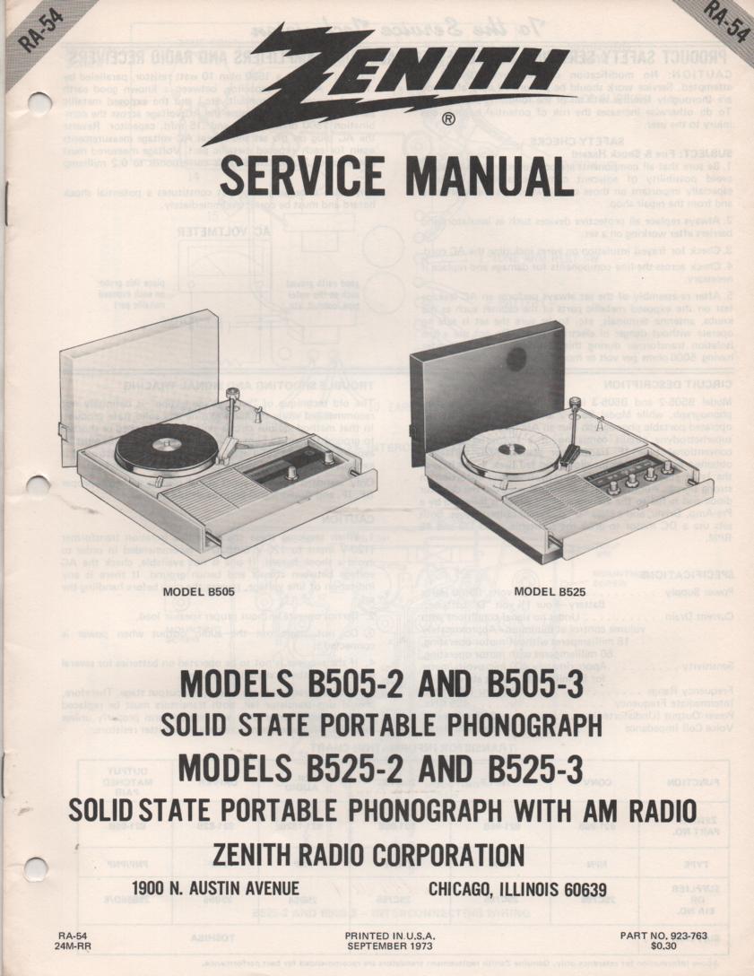 B505 B525 Portable Phonograph Service Manual RA7