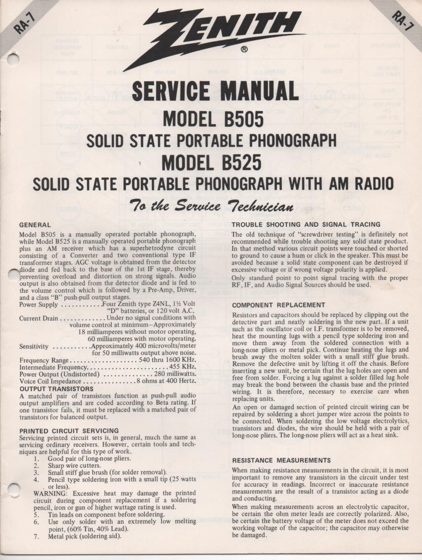 B505 Turntable Service Manual. RA7