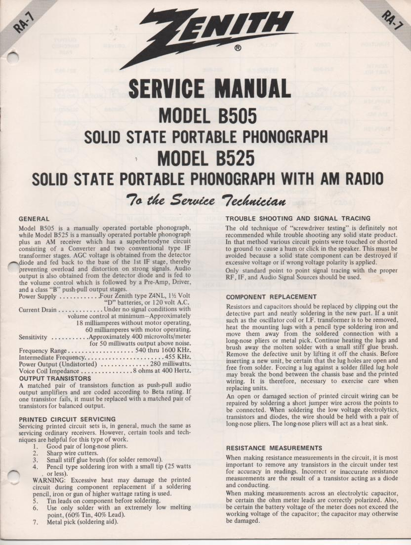 B525 Turntable Service Manual. RA7