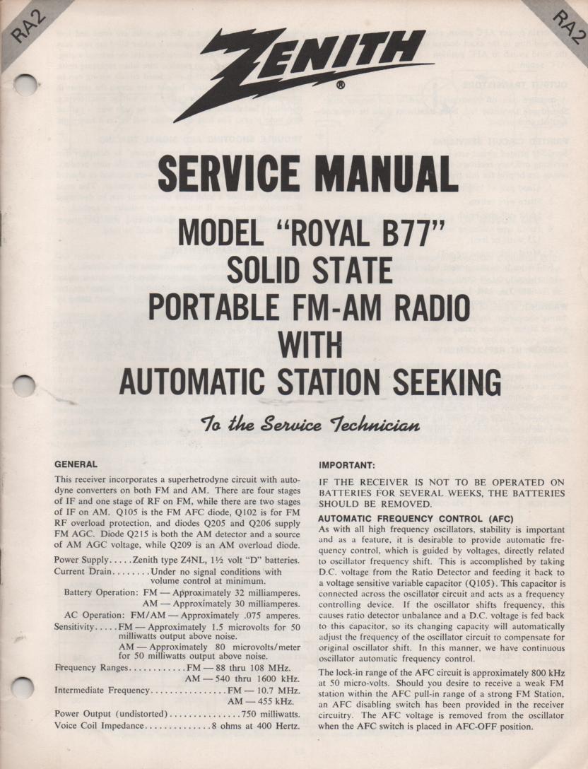 B77 Royal B77 AM FM Radio Service Manual RA2