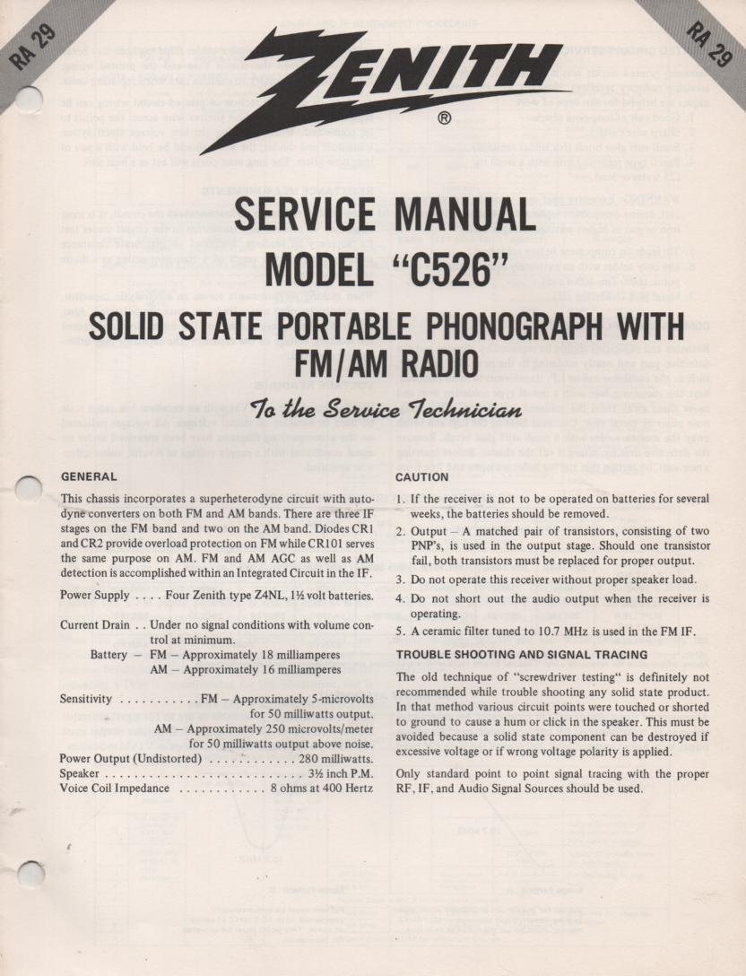 C526 AM FM Radio Phonograph Service Manual RA29