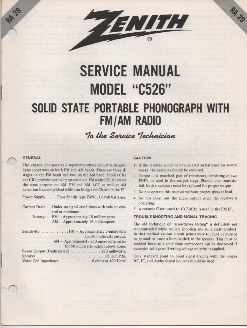 C526 Turntable Service Manual. RA29
