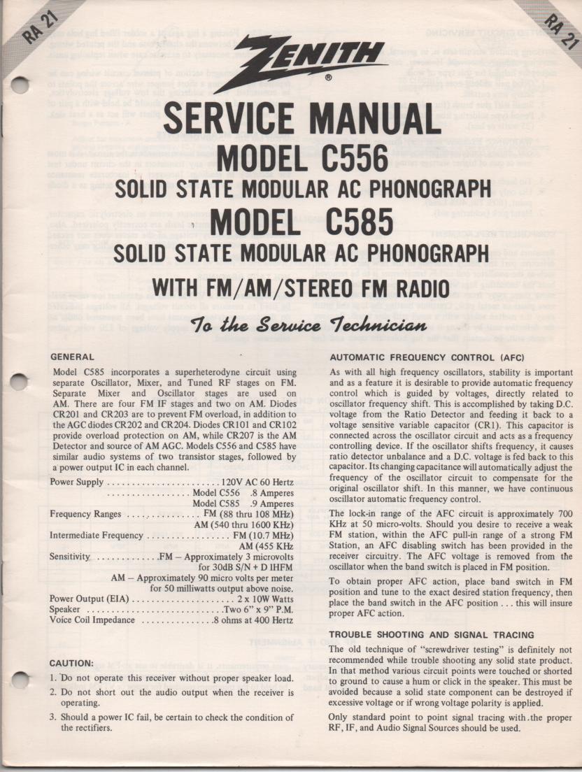 C556 Turntable Service Manual. RA21