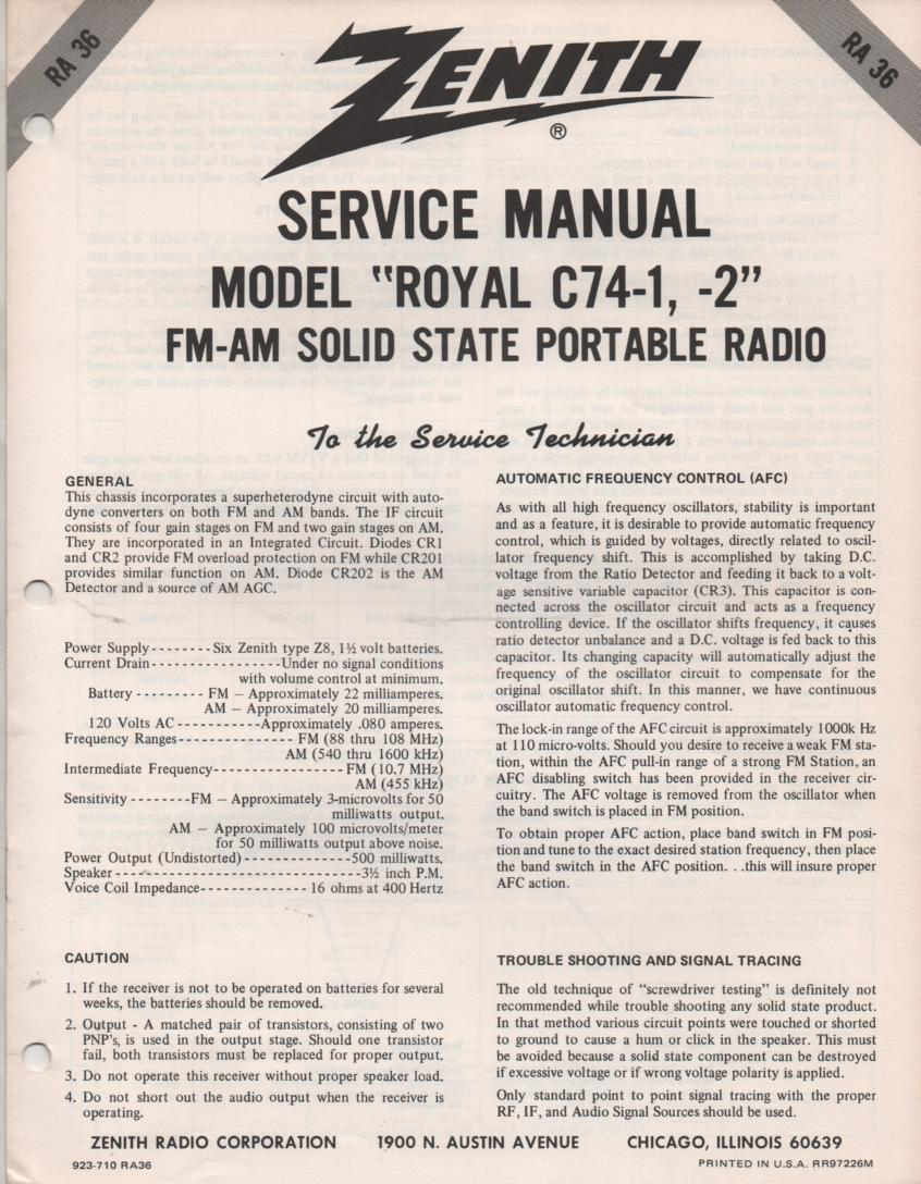 C74-1 C74-2 Royal C74-1 C74-2 AM FM Radio Service Manual RA36