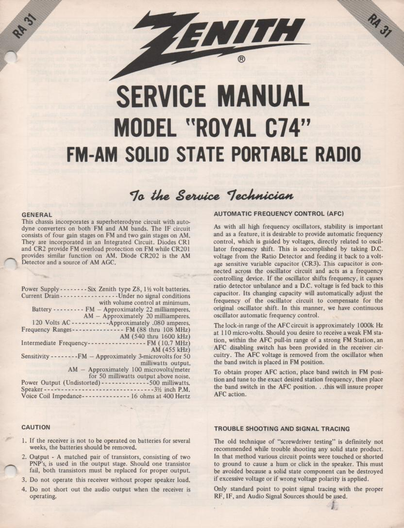 C74 Royal C74 AM FM Radio Service Manual RA31