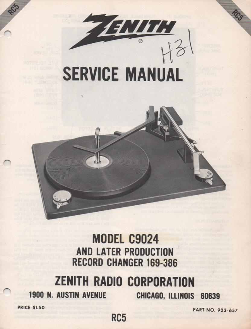 C9024 169-386 Turntable Service Manual. RC5 .  Late Production