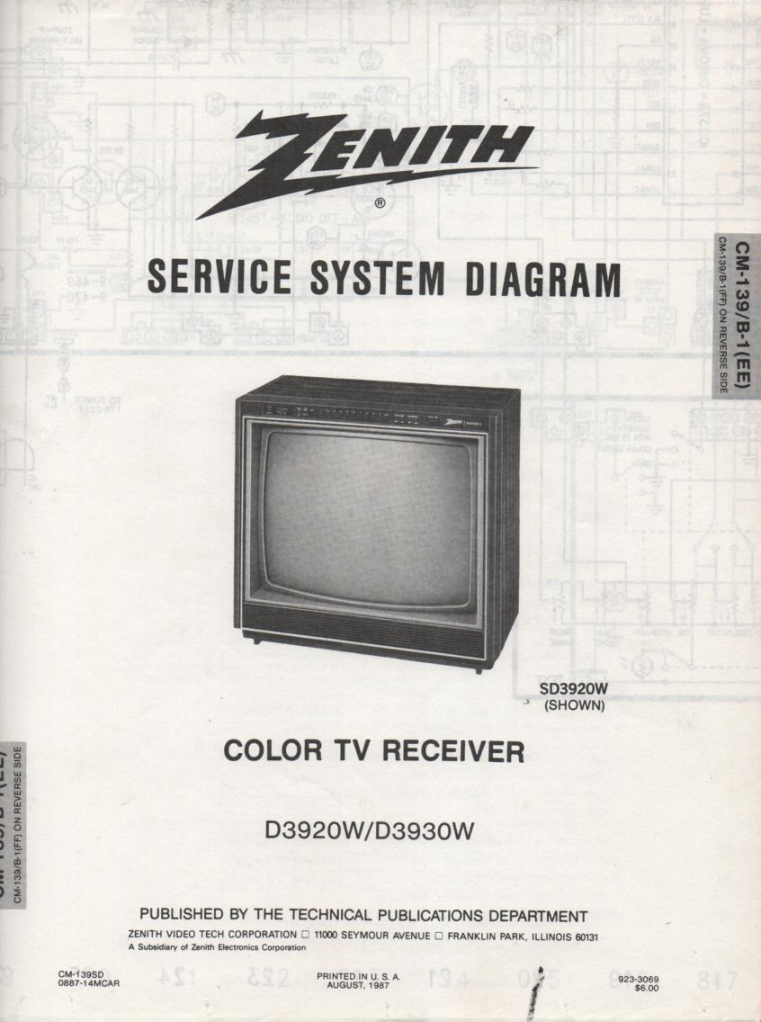 D3930W TV Schematic     D3920W Manual