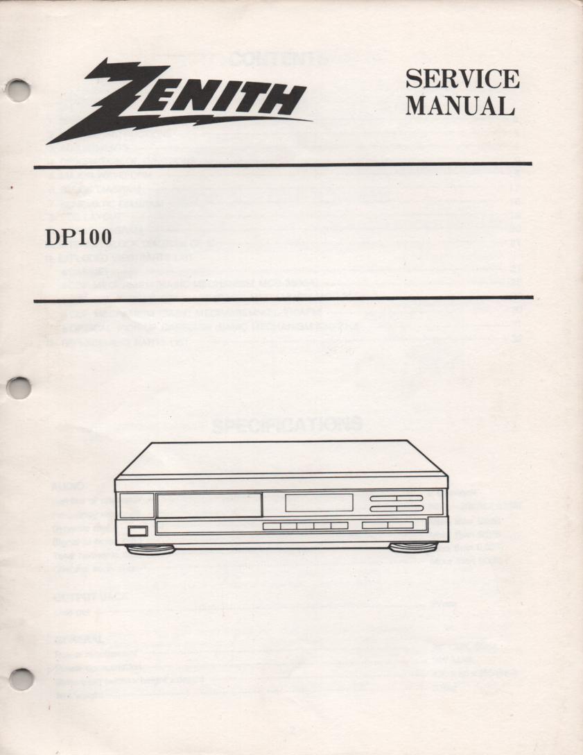 DP100 CD Player Service Manual