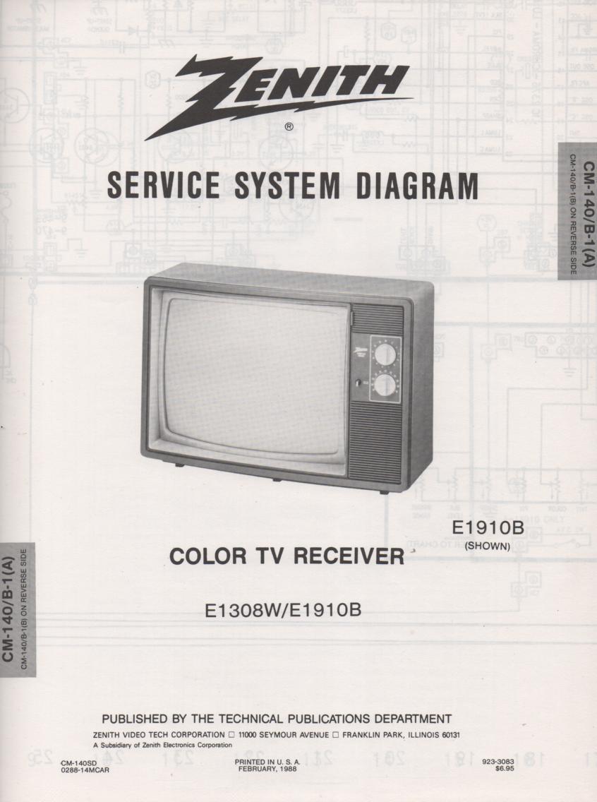 E1910B TV Schematic ..   E1308W Manual