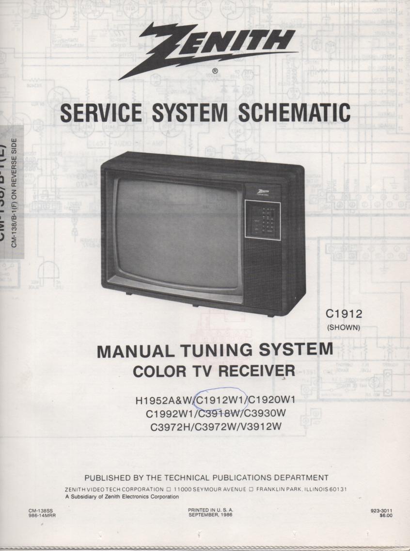 H1952A TV Schematic ..   C1912W1 Manual