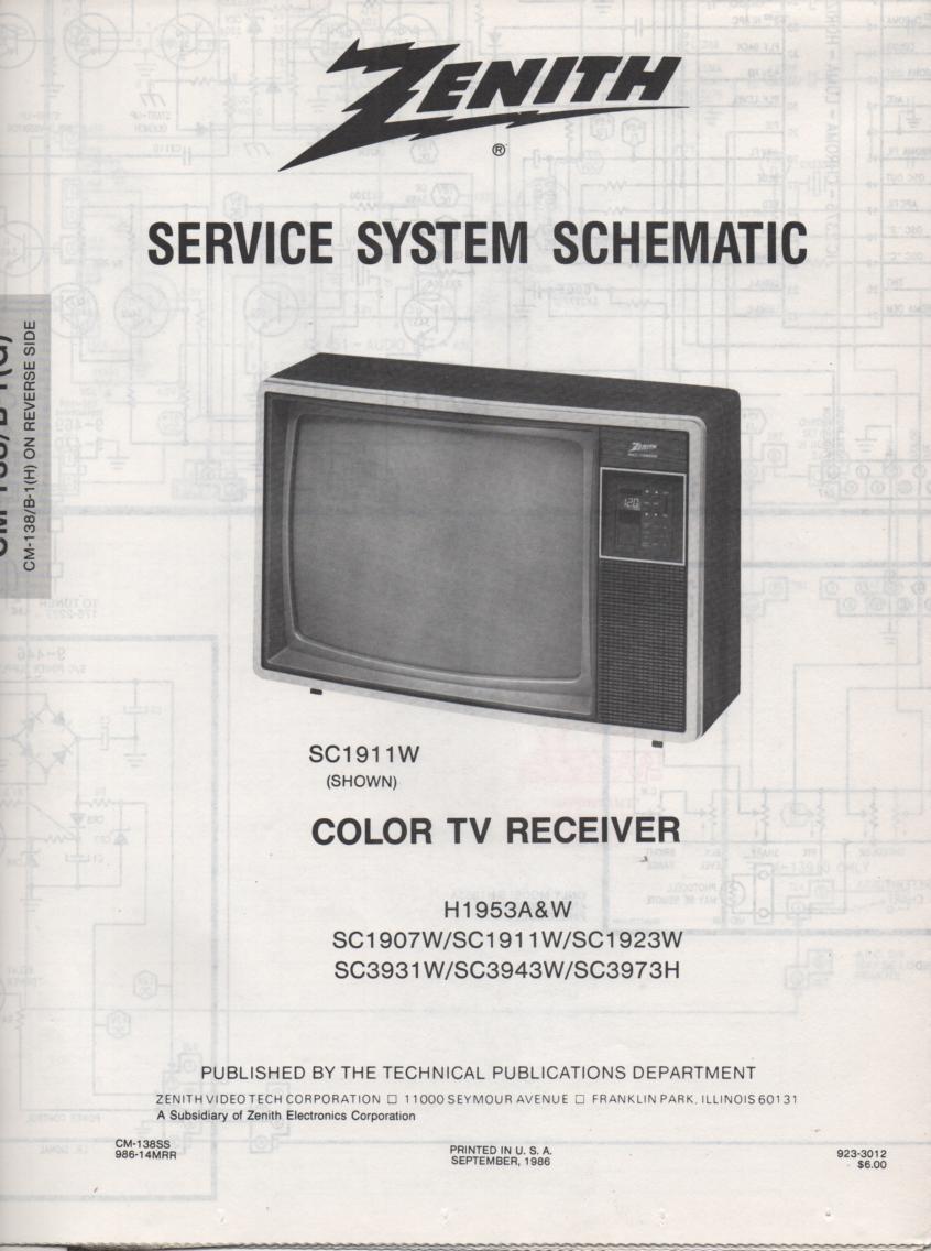 H1953W TV Schematic ..   H1953A Manual