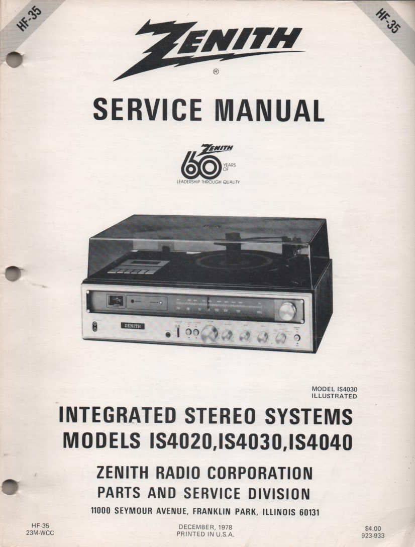 IS4020 IS4030 IS4040 Stereo System Service Manual HF35