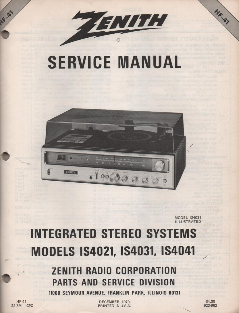 IS4021 IS4031 IS4041 Stereo System Service Manual HF41