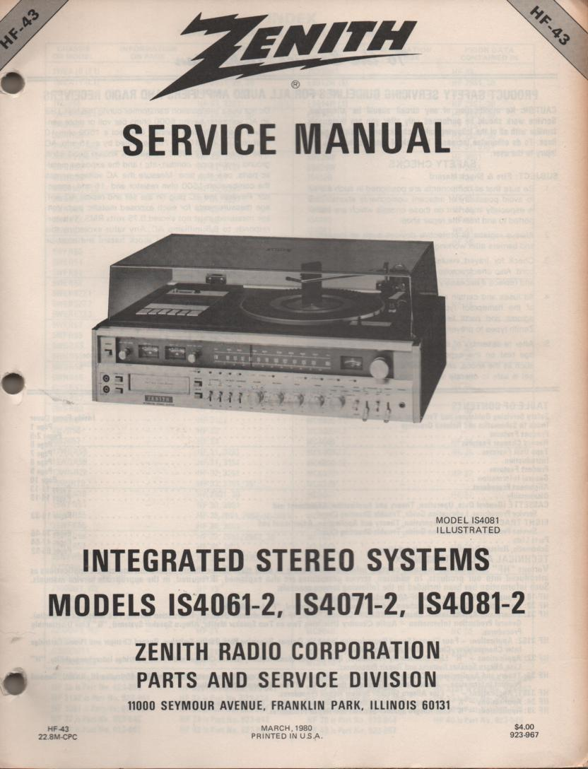 IS4061-2 IS4071-2 IS4081-2 Stereo System Service Manual HF43