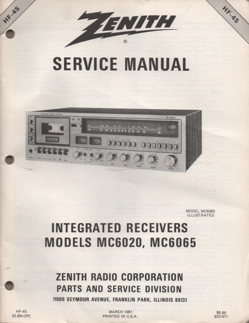 MC6020 MC6065 Stereo System Service Manual HF45