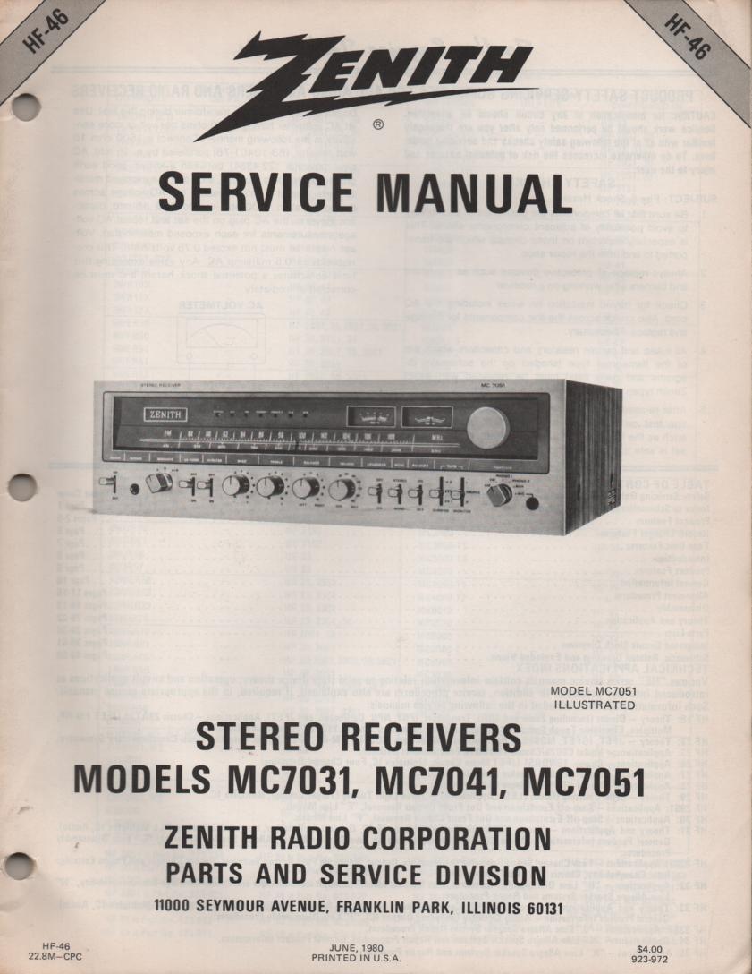 MC7031 MC7041 MC7051 Stereo Receiver Service Manual HF46