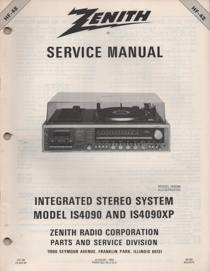 IS4090 IS4090XP Stereo System Service Manual HF48
