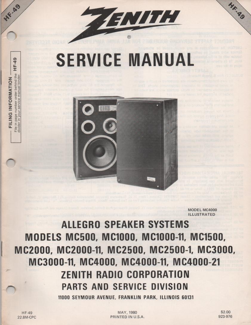 MC500 MC1000 MC1000-11 MC1500 Allegro Speaker Systems Service Manual HF49