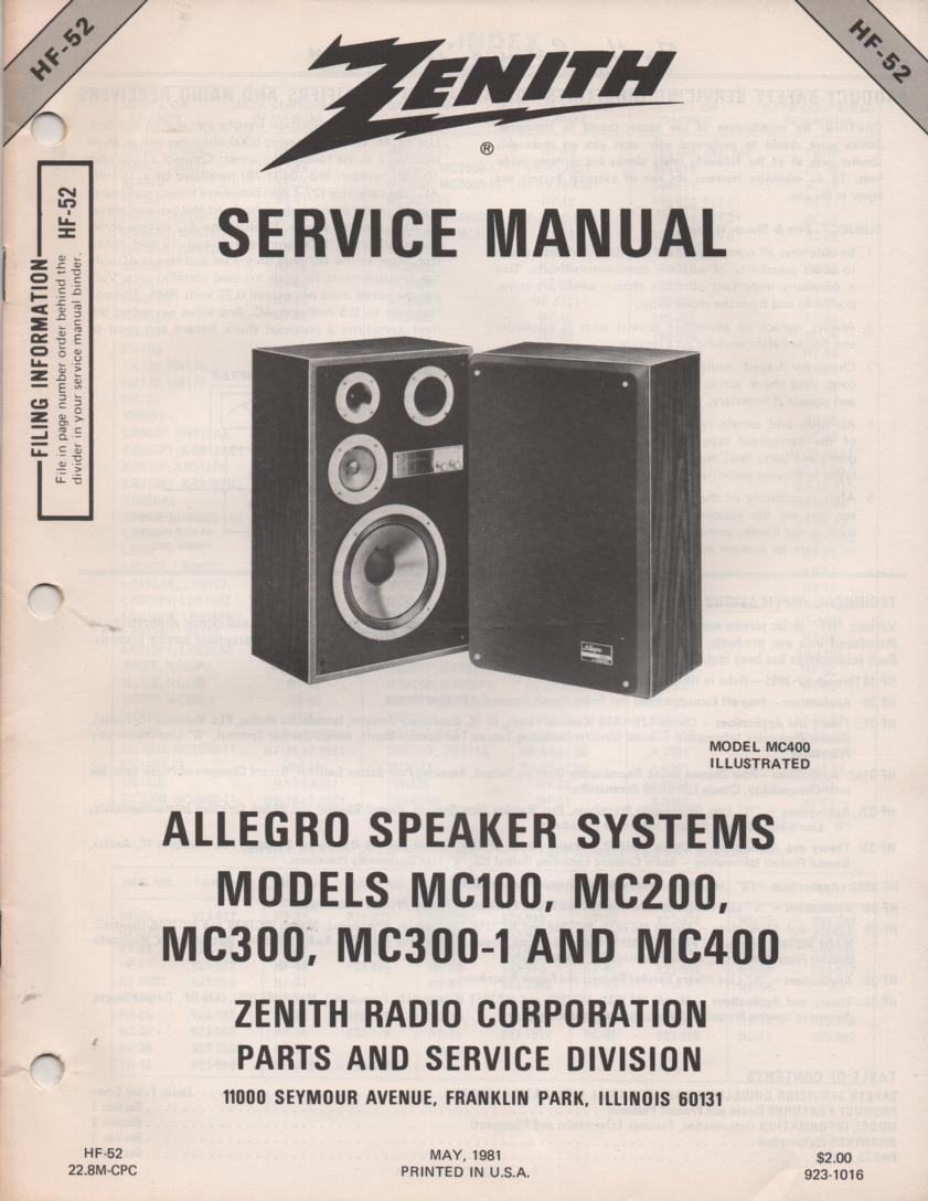 MC100 MC200 MC300 MC300-1 MC400 Allegro Speaker Systems Service Manual HF52