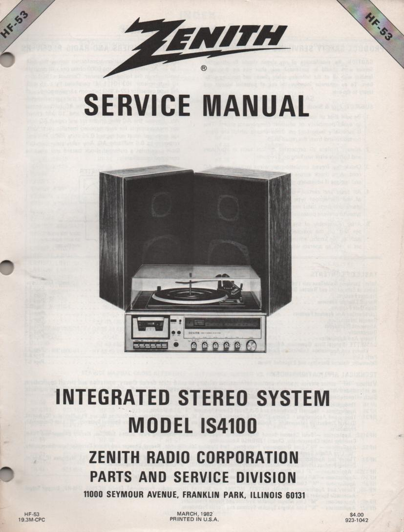 IS4100 Stereo System Service Manual HF53