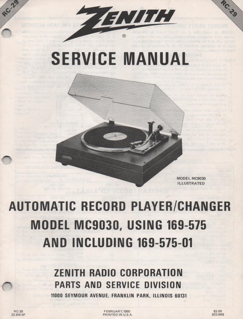 MC9030 169-575 Turntable Service Manual. RC29