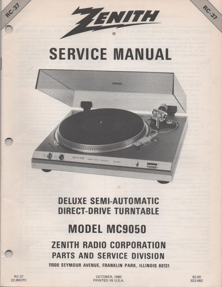 MC9050 Turntable Service Manual RC-37 January 1982